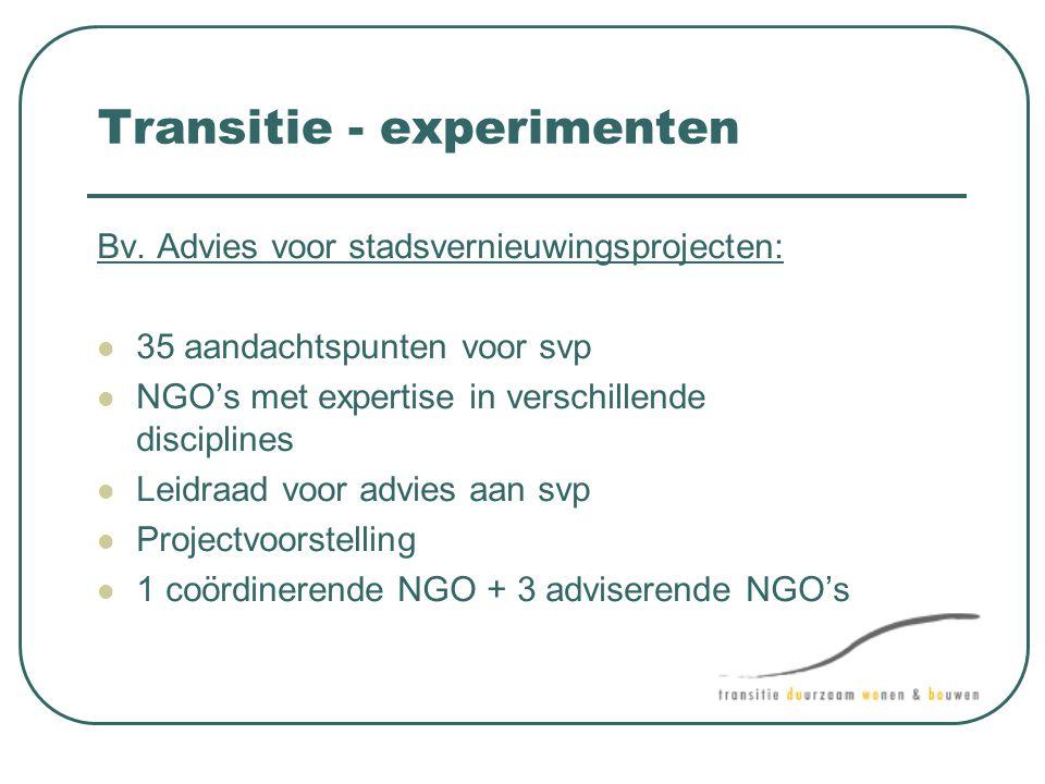 Transitie - experimenten Bv. Advies voor stadsvernieuwingsprojecten:  35 aandachtspunten voor svp  NGO's met expertise in verschillende disciplines