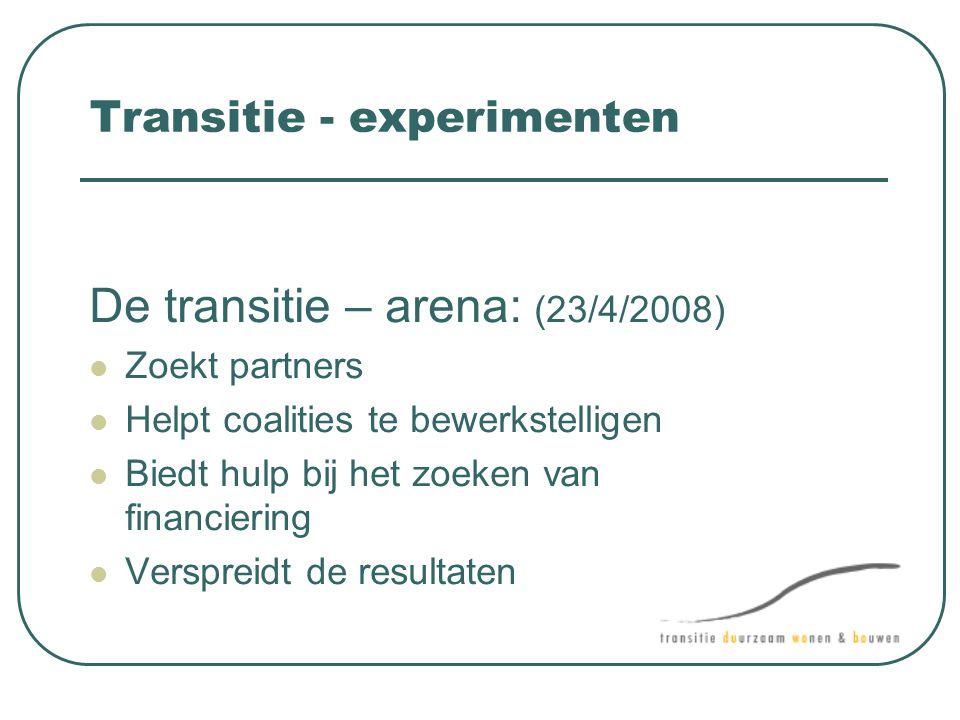 Transitie - experimenten De transitie – arena: (23/4/2008)  Zoekt partners  Helpt coalities te bewerkstelligen  Biedt hulp bij het zoeken van finan