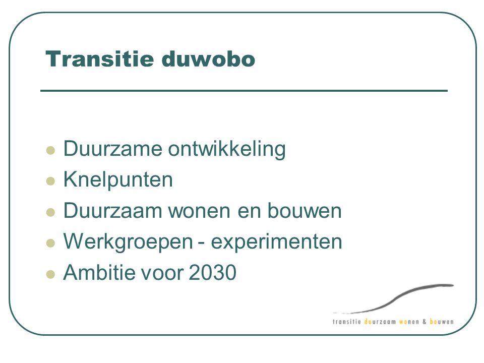 Transitie duwobo  Duurzame ontwikkeling  Knelpunten  Duurzaam wonen en bouwen  Werkgroepen - experimenten  Ambitie voor 2030