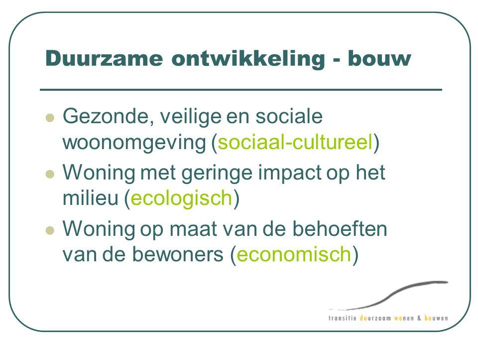 Duurzame ontwikkeling - bouw  Gezonde, veilige en sociale woonomgeving (sociaal-cultureel)  Woning met geringe impact op het milieu (ecologisch)  W
