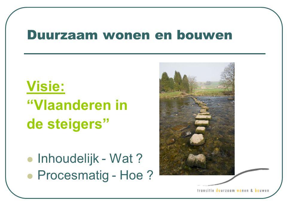 """Duurzaam wonen en bouwen Visie: """"Vlaanderen in de steigers""""  Inhoudelijk - Wat ?  Procesmatig - Hoe ?"""
