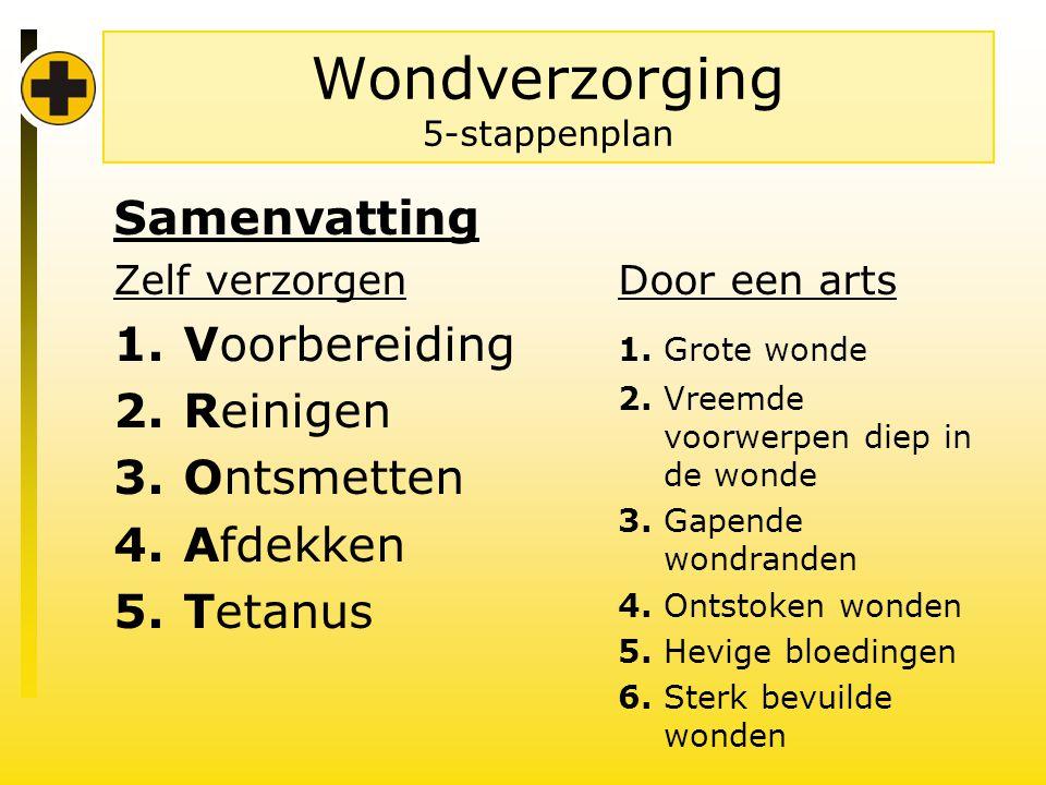Wondverzorging 5-stappenplan Samenvatting Zelf verzorgen 1.Voorbereiding 2.Reinigen 3.Ontsmetten 4.Afdekken 5.Tetanus Door een arts 1.