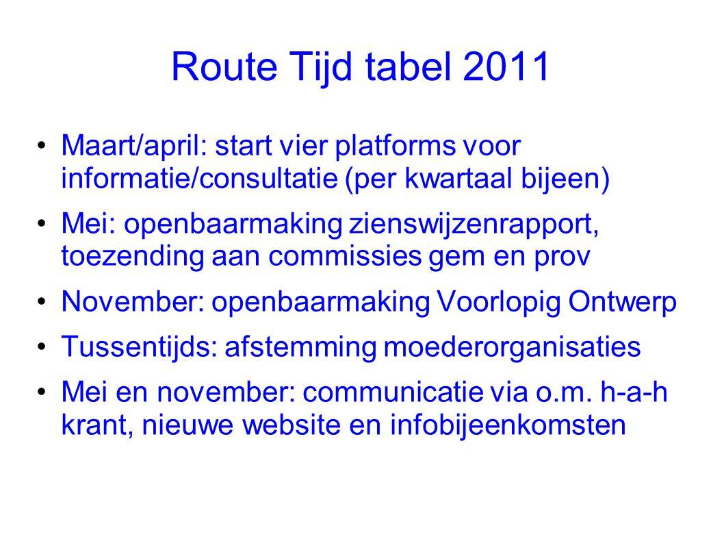 Route Tijd tabel 2011 •Maart/april: start vier platforms voor informatie/consultatie (per kwartaal bijeen) •Mei: openbaarmaking zienswijzenrapport, to