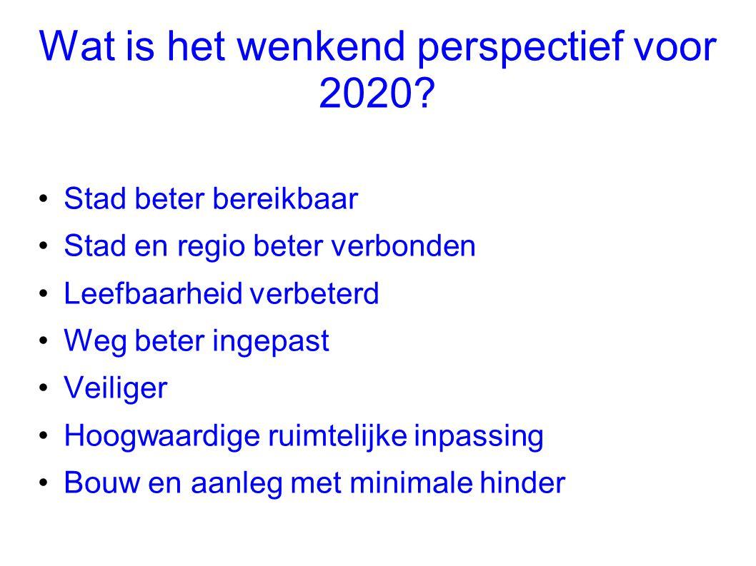 Wat is het wenkend perspectief voor 2020? •Stad beter bereikbaar •Stad en regio beter verbonden •Leefbaarheid verbeterd •Weg beter ingepast •Veiliger