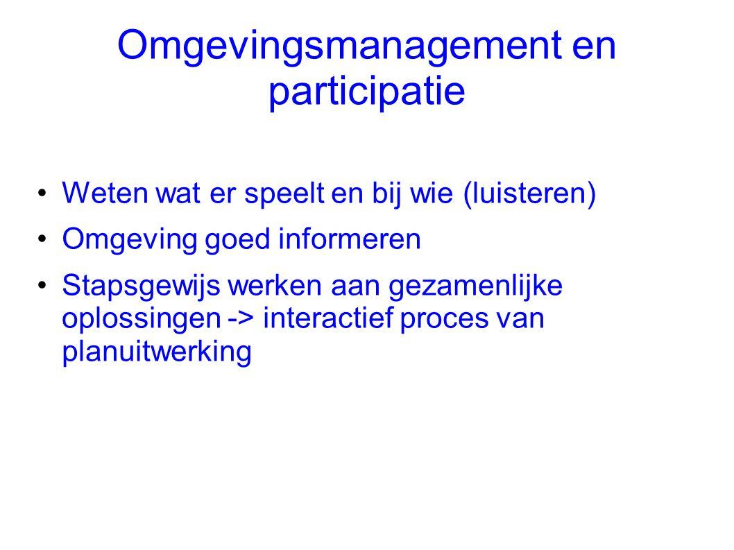 Omgevingsmanagement en participatie •Weten wat er speelt en bij wie (luisteren) •Omgeving goed informeren •Stapsgewijs werken aan gezamenlijke oplossi