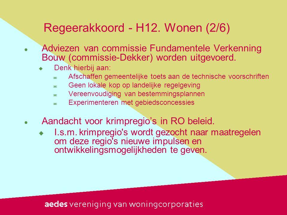 Regeerakkoord - H12. Wonen (2/6)  Adviezen van commissie Fundamentele Verkenning Bouw (commissie-Dekker) worden uitgevoerd.  Denk hierbij aan:  Afs