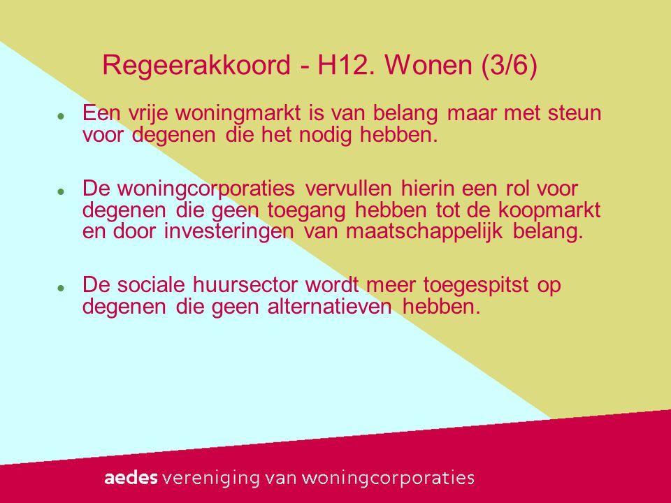 Regeerakkoord - H12. Wonen (3/6)  Een vrije woningmarkt is van belang maar met steun voor degenen die het nodig hebben.  De woningcorporaties vervul