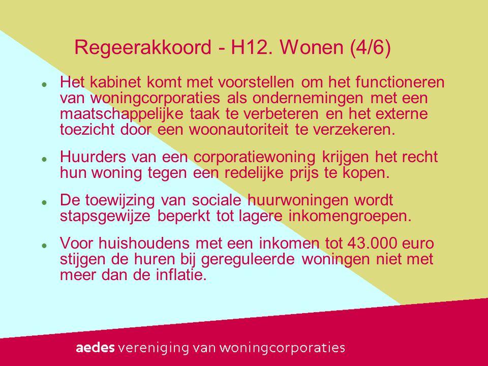 Regeerakkoord - H12. Wonen (4/6)  Het kabinet komt met voorstellen om het functioneren van woningcorporaties als ondernemingen met een maatschappelij