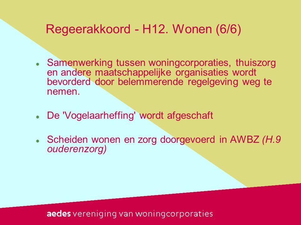 Regeerakkoord - H12. Wonen (6/6)  Samenwerking tussen woningcorporaties, thuiszorg en andere maatschappelijke organisaties wordt bevorderd door belem