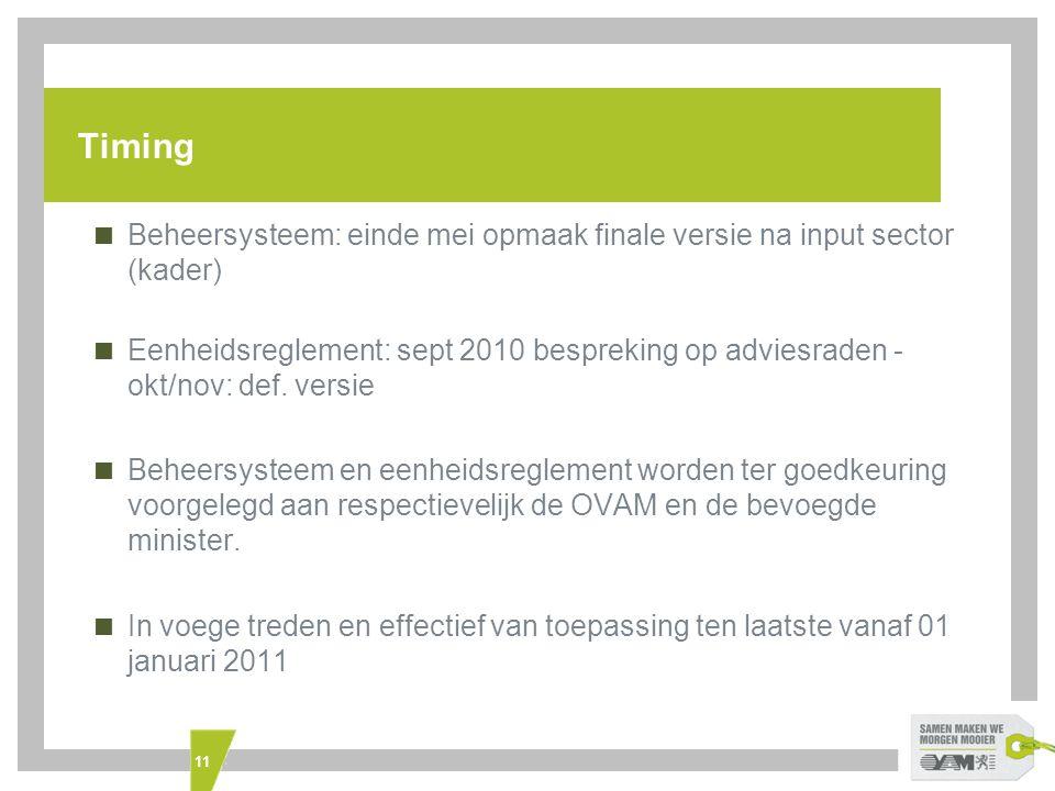 11 Timing  Beheersysteem: einde mei opmaak finale versie na input sector (kader)  Eenheidsreglement: sept 2010 bespreking op adviesraden - okt/nov: def.