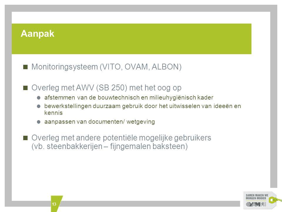 13 Aanpak  Monitoringsysteem (VITO, OVAM, ALBON)  Overleg met AWV (SB 250) met het oog op  afstemmen van de bouwtechnisch en milieuhygiënisch kader  bewerkstellingen duurzaam gebruik door het uitwisselen van ideeën en kennis  aanpassen van documenten/ wetgeving  Overleg met andere potentiële mogelijke gebruikers (vb.