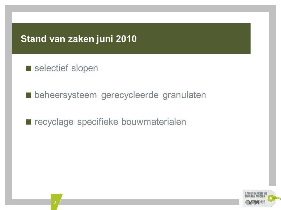 3 Stand van zaken juni 2010  selectief slopen  beheersysteem gerecycleerde granulaten  recyclage specifieke bouwmaterialen