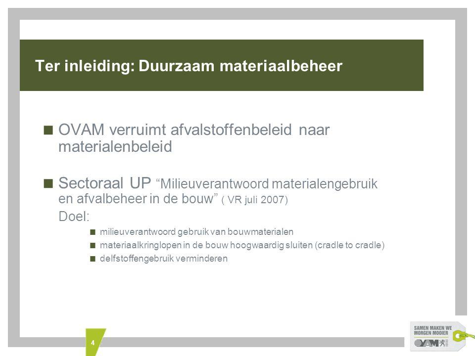 15 Gips + Cellenbeton  Gips  Overleg met de gipssector (opvolging samenwerkingsovereenkomst gips) voor 21 juni gepland  Cellenbeton  TWOL studie: Hoogwaardige oplossingen voor cellenbetonafval, gestart op 1 maart 2010 (WTCB-VITO)  MIP II-projectvoorstel: haalbaarheidsstudie: gebruik van gerecycleerd cellenbeton in chape: CHAP-YT (Johan D'Hooghe)