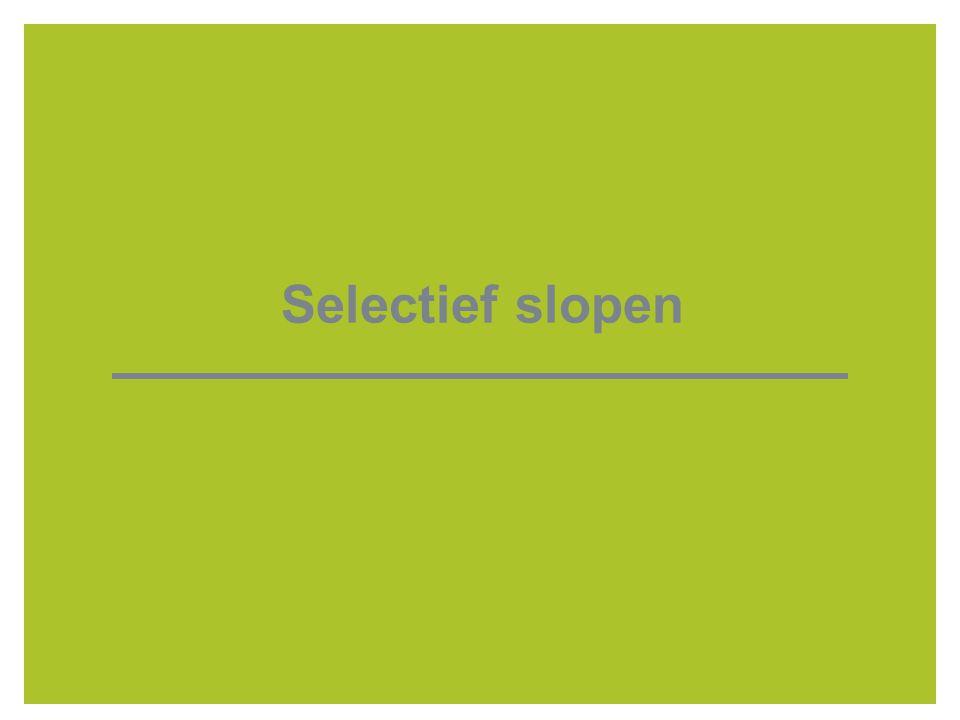 7 Brochure selectief slopen  toelichting wetgevend kader  opsomming verantwoordelijkheden architect/ deskundige, houder stedenbouwkundige vergunning, ontmantelaar/ sloper  aanmoedigen opstelling sloopinventaris bij niet-verplichting  mogelijke uitbreiding in toekomst voor alle sloop- en ontmantelingswerken  link naar beheersysteem: overdracht puin aan breker, verklaringen, hoog-laag milieurisicoprofiel  handhaving