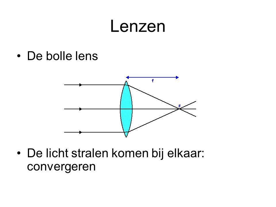 Lenzen •De bolle lens •De licht stralen komen bij elkaar: convergeren