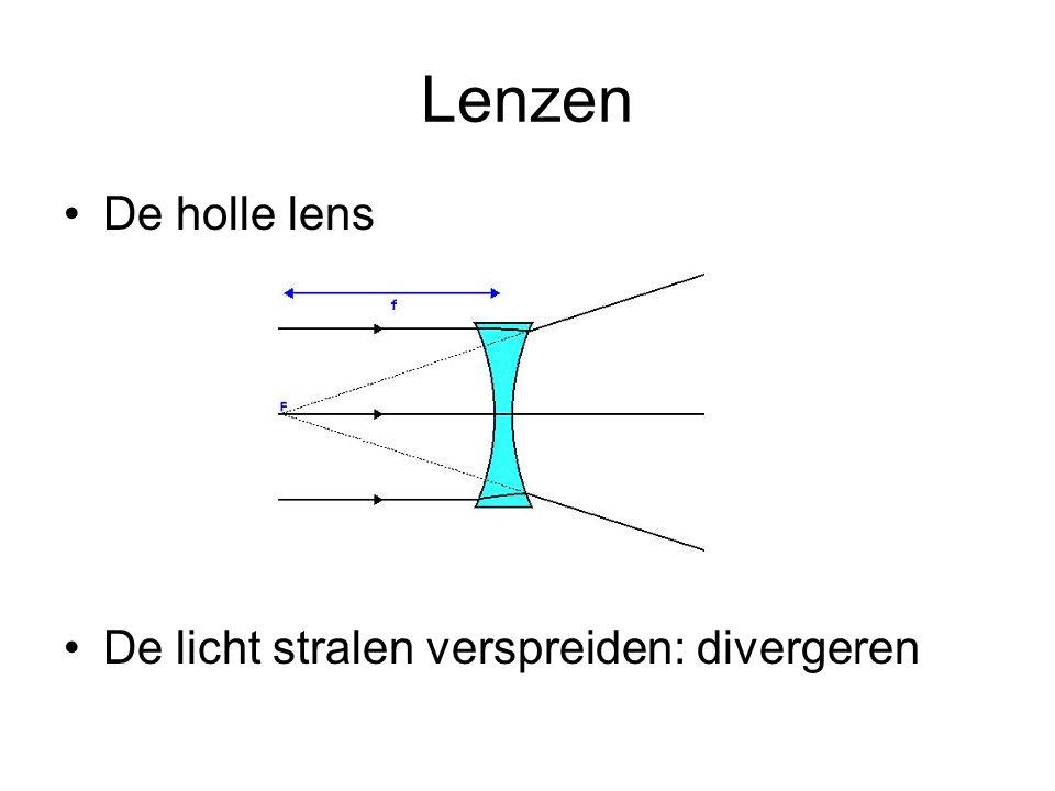 Lenzen •De holle lens •De licht stralen verspreiden: divergeren