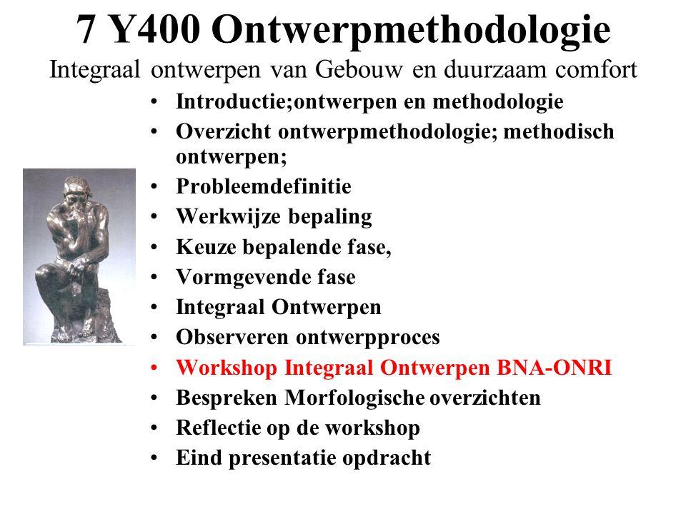 7 Y400 Ontwerpmethodologie Integraal ontwerpen van Gebouw en duurzaam comfort •Introductie;ontwerpen en methodologie •Overzicht ontwerpmethodologie; m