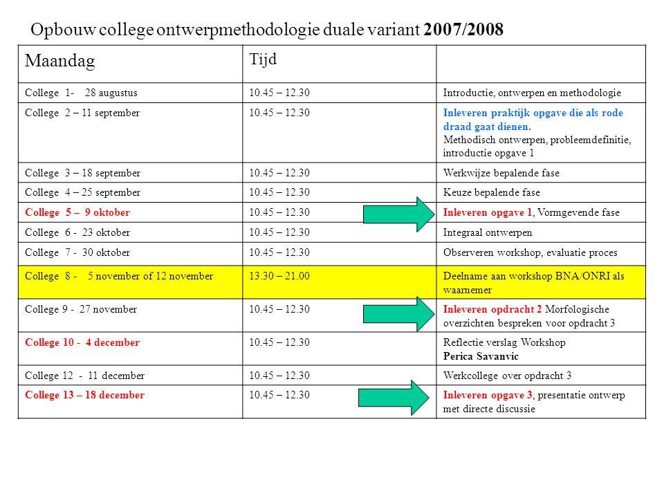 College Gebouwveiligheid 7Y320 Opbouw college ontwerpmethodologie duale variant 2007/2008 Maandag Tijd College 1- 28 augustus10.45 – 12.30Introductie,