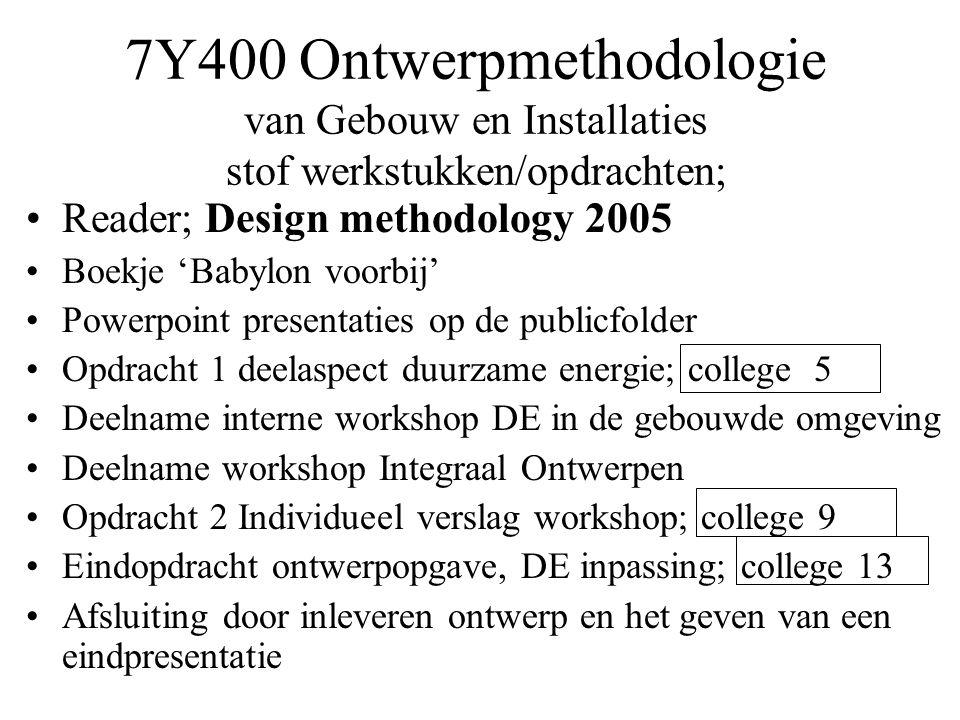 7Y400 Ontwerpmethodologie van Gebouw en Installaties stof werkstukken/opdrachten; •Reader; Design methodology 2005 •Boekje 'Babylon voorbij' •Powerpoi