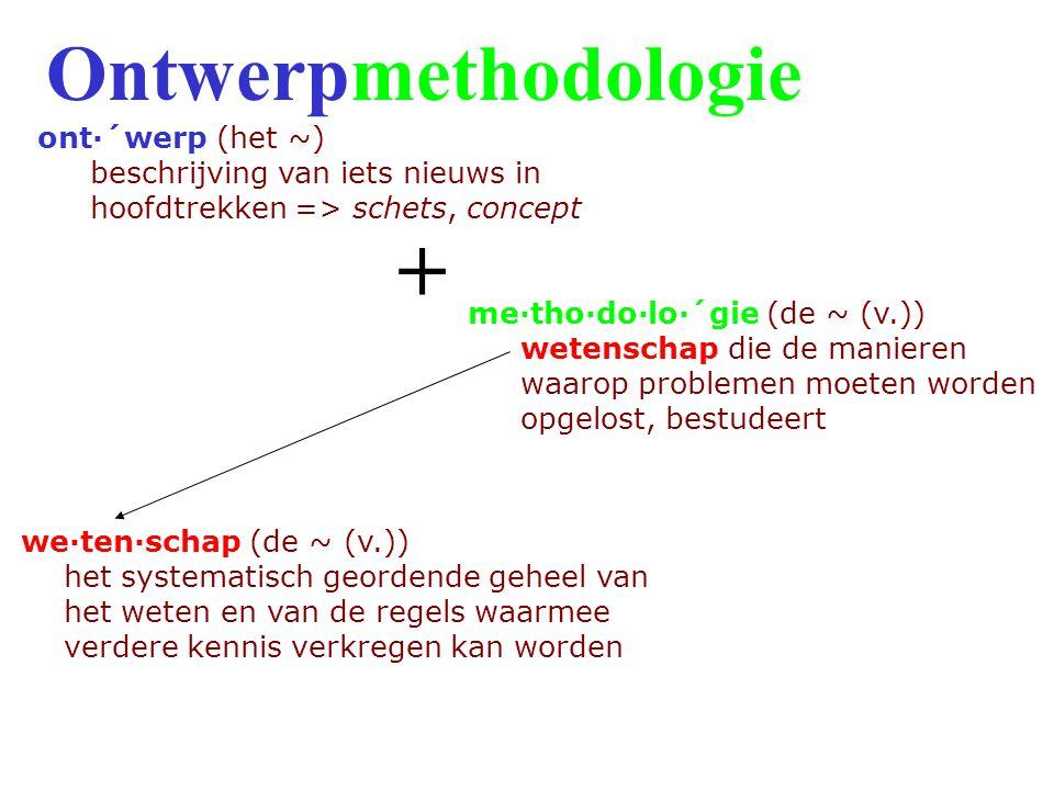 me·tho·do·lo·´gie (de ~ (v.)) wetenschap die de manieren waarop problemen moeten worden opgelost, bestudeert we·ten·schap (de ~ (v.)) het systematisch