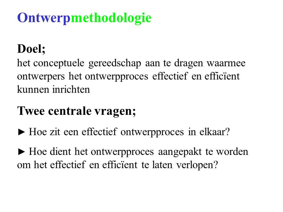 Ontwerpmethodologie Doel; het conceptuele gereedschap aan te dragen waarmee ontwerpers het ontwerpproces effectief en efficïent kunnen inrichten Twee