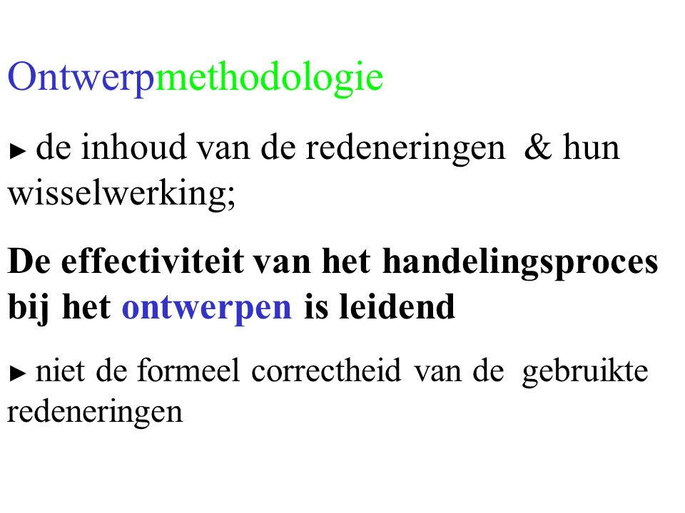 Ontwerpmethodologie ► de inhoud van de redeneringen & hun wisselwerking; De effectiviteit van het handelingsproces bij het ontwerpen is leidend ► niet