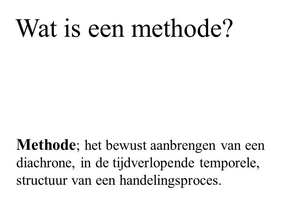 Methode ; het bewust aanbrengen van een diachrone, in de tijdverlopende temporele, structuur van een handelingsproces. Wat is een methode?