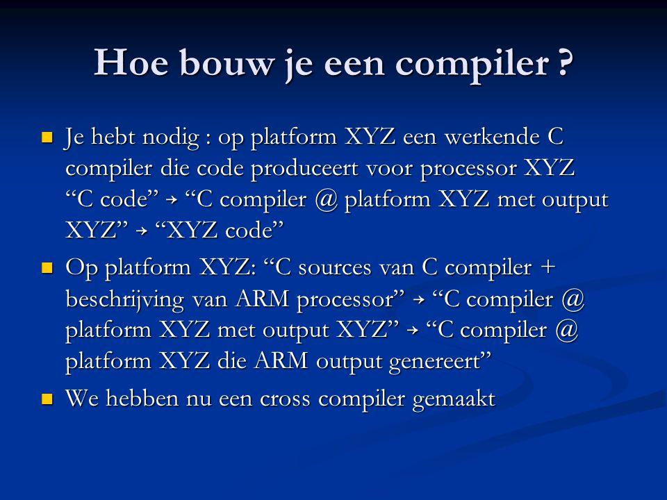 """Hoe bouw je een compiler ?  Je hebt nodig : op platform XYZ een werkende C compiler die code produceert voor processor XYZ """"C code"""" → """"C compiler @ p"""