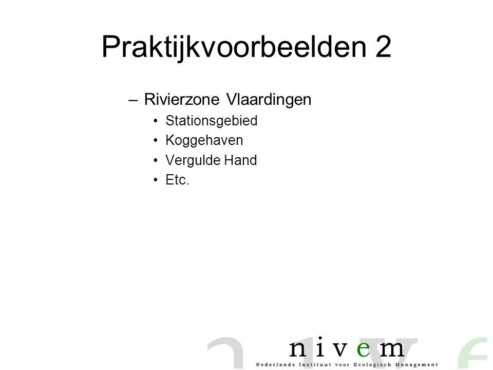 Praktijkvoorbeelden 2 –Rivierzone Vlaardingen •Stationsgebied •Koggehaven •Vergulde Hand •Etc.