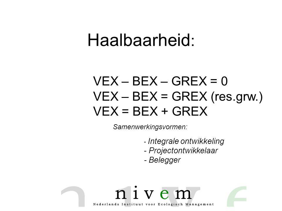 Haalbaarheid : VEX – BEX – GREX = 0 VEX – BEX = GREX (res.grw.) VEX = BEX + GREX - Integrale ontwikkeling - Projectontwikkelaar - Belegger Samenwerkingsvormen: