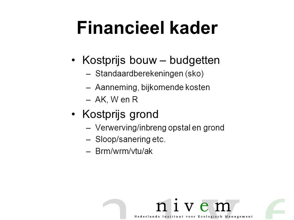 Financieel kader •Kostprijs bouw – budgetten –Standaardberekeningen (sko) –Aanneming, bijkomende kosten –AK, W en R •Kostprijs grond –Verwerving/inbreng opstal en grond –Sloop/sanering etc.