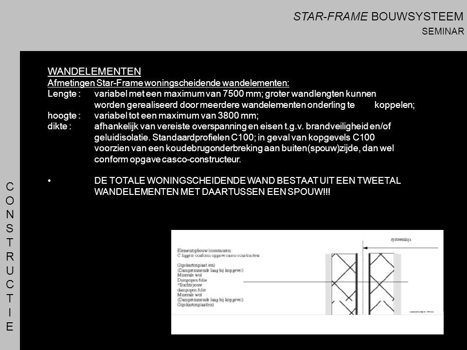 CONSTRUCTIECONSTRUCTIE WANDELEMENTEN Afmetingen Star-Frame woningscheidende wandelementen: Lengte : variabel met een maximum van 7500 mm; groter wandl