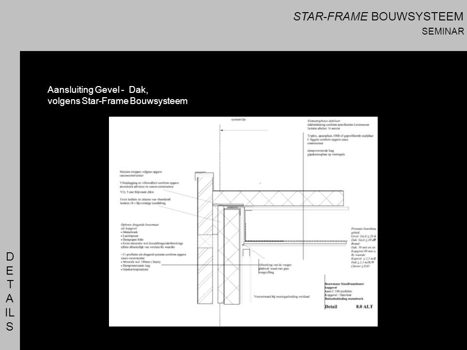 D E T A IL S Aansluiting Gevel - Dak, volgens Star-Frame Bouwsysteem STAR-FRAME BOUWSYSTEEM SEMINAR