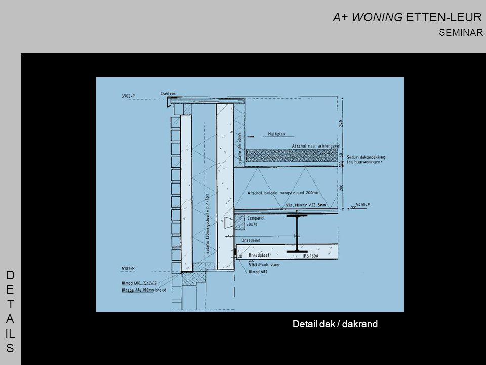 A+ WONING ETTEN-LEUR SEMINAR D E T A IL S Detail dak / dakrand