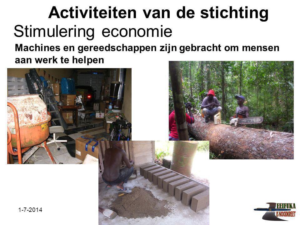 1-7-2014Stichting Teeifuka Activiteiten van de stichting Machines en gereedschappen zijn gebracht om mensen aan werk te helpen Stimulering economie