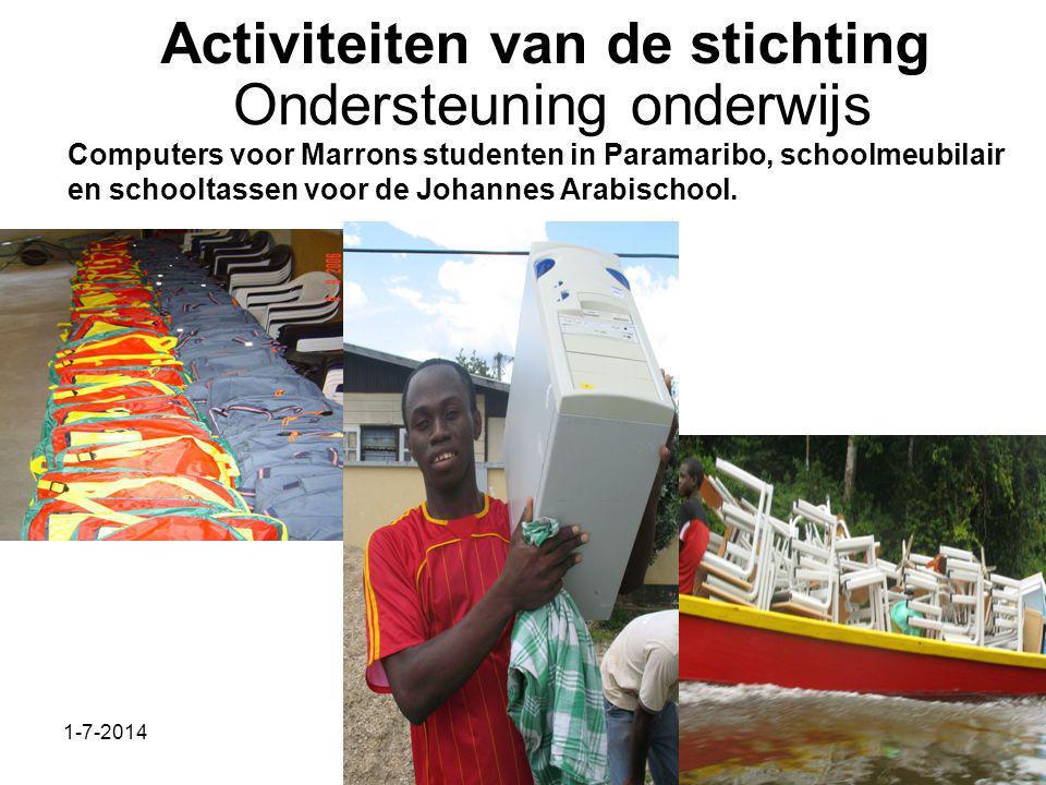1-7-2014Stichting Teeifuka Activiteiten van de stichting Computers voor Marrons studenten in Paramaribo, schoolmeubilair en schooltassen voor de Johannes Arabischool.
