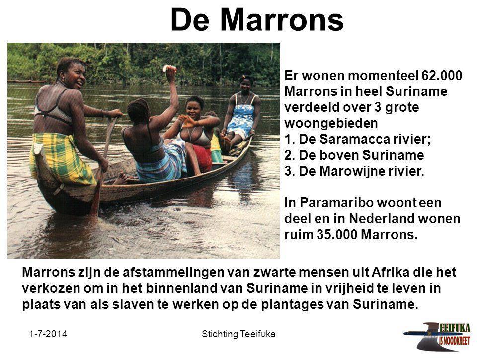 1-7-2014Stichting Teeifuka De Marrons Marrons zijn de afstammelingen van zwarte mensen uit Afrika die het verkozen om in het binnenland van Suriname in vrijheid te leven in plaats van als slaven te werken op de plantages van Suriname.