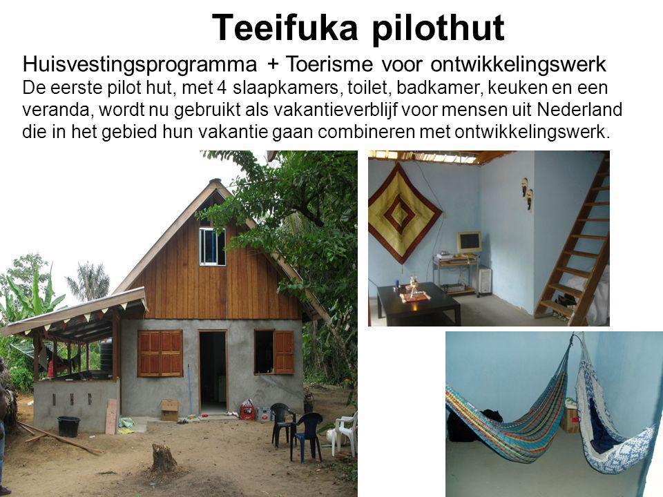 1-7-2014 Teeifuka pilothut Huisvestingsprogramma + Toerisme voor ontwikkelingswerk De eerste pilot hut, met 4 slaapkamers, toilet, badkamer, keuken en een veranda, wordt nu gebruikt als vakantieverblijf voor mensen uit Nederland die in het gebied hun vakantie gaan combineren met ontwikkelingswerk.