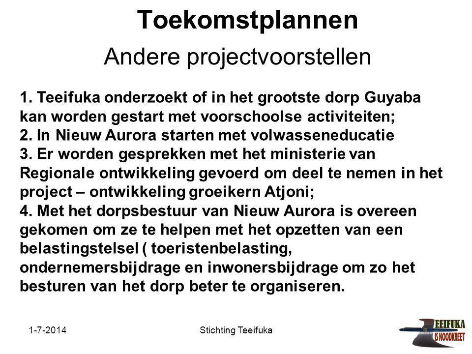 1-7-2014Stichting Teeifuka Toekomstplannen Andere projectvoorstellen 1.