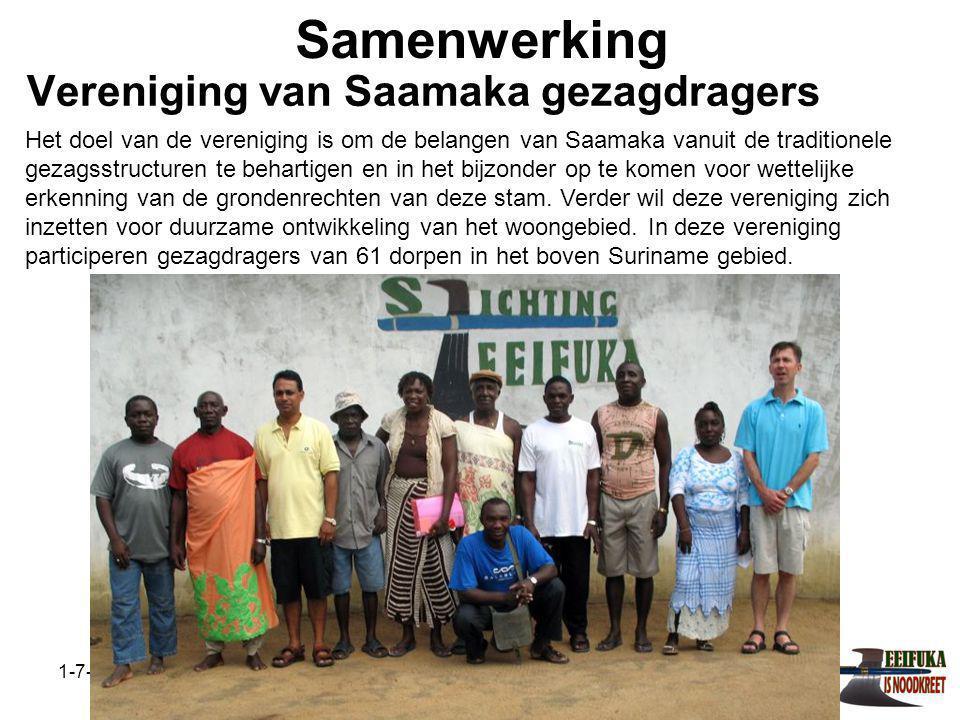 1-7-2014Stichting Teeifuka Samenwerking Het doel van de vereniging is om de belangen van Saamaka vanuit de traditionele gezagsstructuren te behartigen en in het bijzonder op te komen voor wettelijke erkenning van de grondenrechten van deze stam.