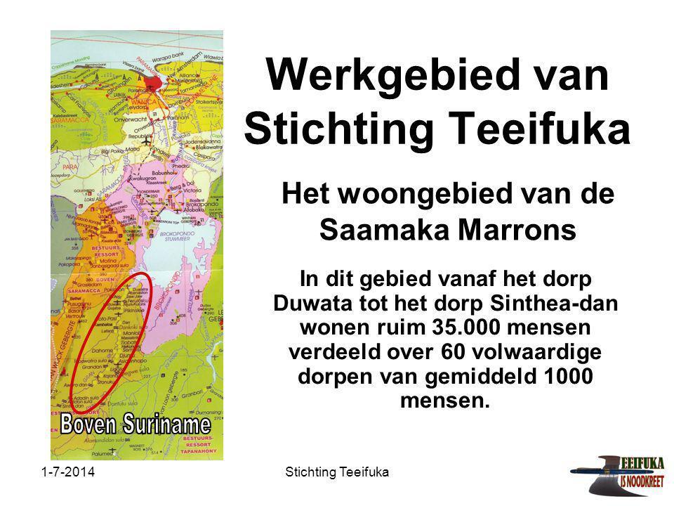 1-7-2014Stichting Teeifuka Werkgebied van Stichting Teeifuka In dit gebied vanaf het dorp Duwata tot het dorp Sinthea-dan wonen ruim 35.000 mensen verdeeld over 60 volwaardige dorpen van gemiddeld 1000 mensen.