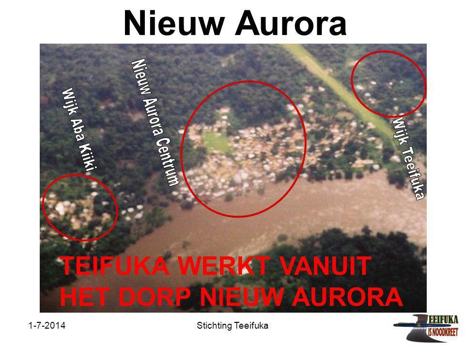 1-7-2014Stichting Teeifuka Nieuw Aurora Nieuw Aurora is een van de grootste dorpen in het gebied met ruim 3000 inwoners.