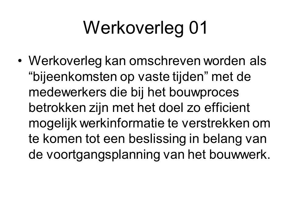 """Werkoverleg 01 •Werkoverleg kan omschreven worden als """"bijeenkomsten op vaste tijden"""" met de medewerkers die bij het bouwproces betrokken zijn met het"""
