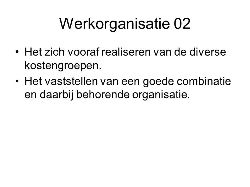 Werkorganisatie 02 •Het zich vooraf realiseren van de diverse kostengroepen.