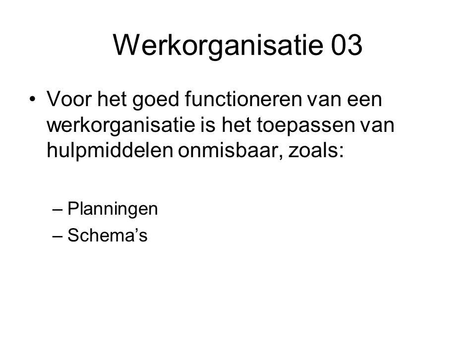 Werkorganisatie 03 •Voor het goed functioneren van een werkorganisatie is het toepassen van hulpmiddelen onmisbaar, zoals: –Planningen –Schema's