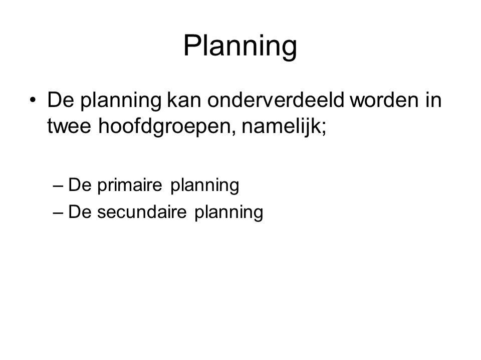 Planning •De planning kan onderverdeeld worden in twee hoofdgroepen, namelijk; –De primaire planning –De secundaire planning