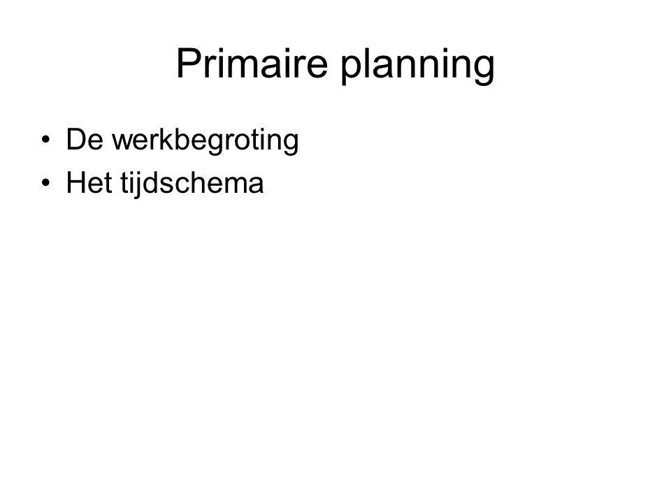 Primaire planning •De werkbegroting •Het tijdschema