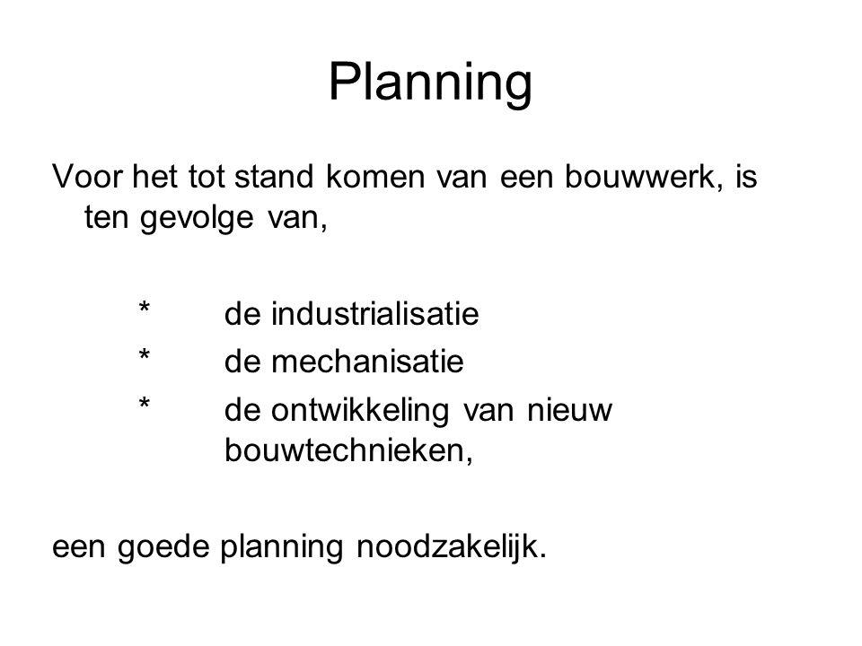 Planning Voor het tot stand komen van een bouwwerk, is ten gevolge van, *de industrialisatie *de mechanisatie *de ontwikkeling van nieuw bouwtechnieken, een goede planning noodzakelijk.