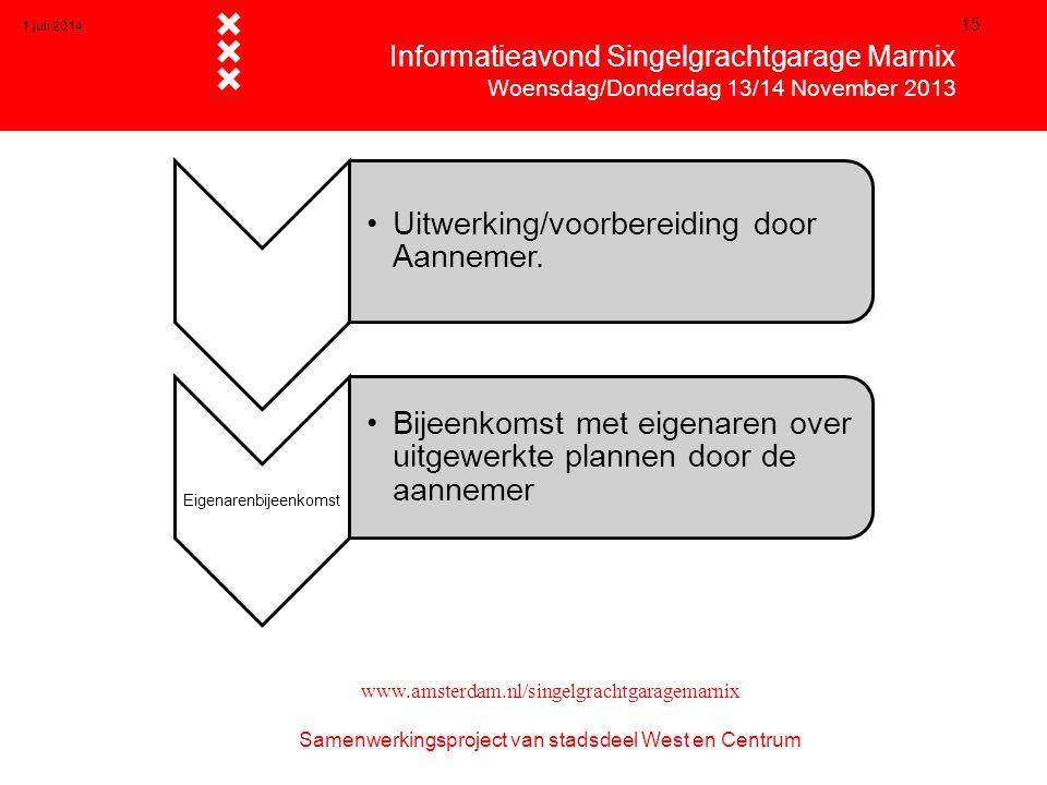 1 juli 2014 15  Informatieavond Singelgrachtgarage Marnix  Woensdag/Donderdag 13/14 November 2013 www.amsterdam.nl/singelgrachtgaragemarnix Samenwer