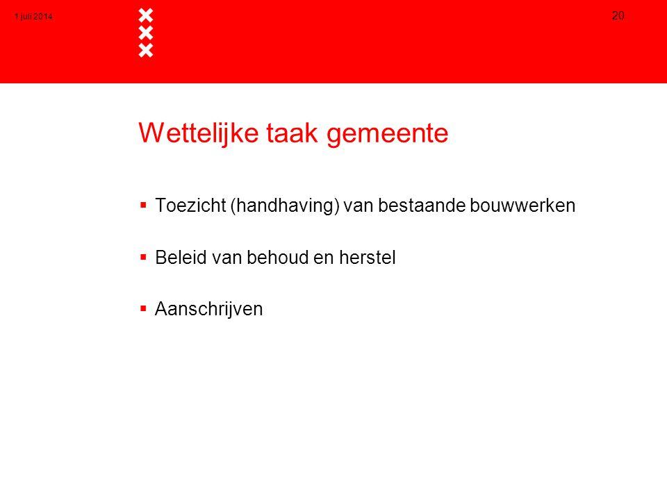Wettelijke taak gemeente  Toezicht (handhaving) van bestaande bouwwerken  Beleid van behoud en herstel  Aanschrijven 1 juli 2014 20